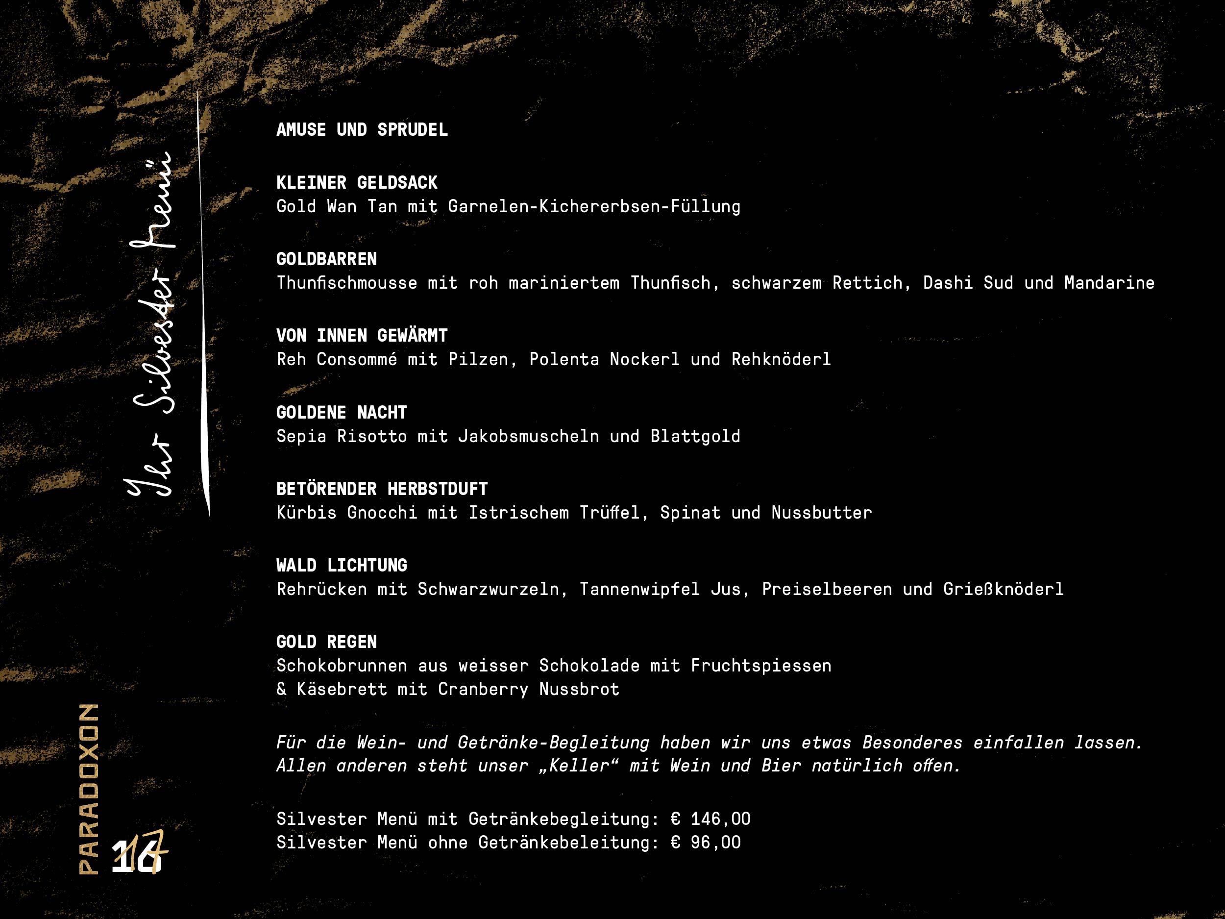 Silvester in Salzburg im Restaurant Paradoxon